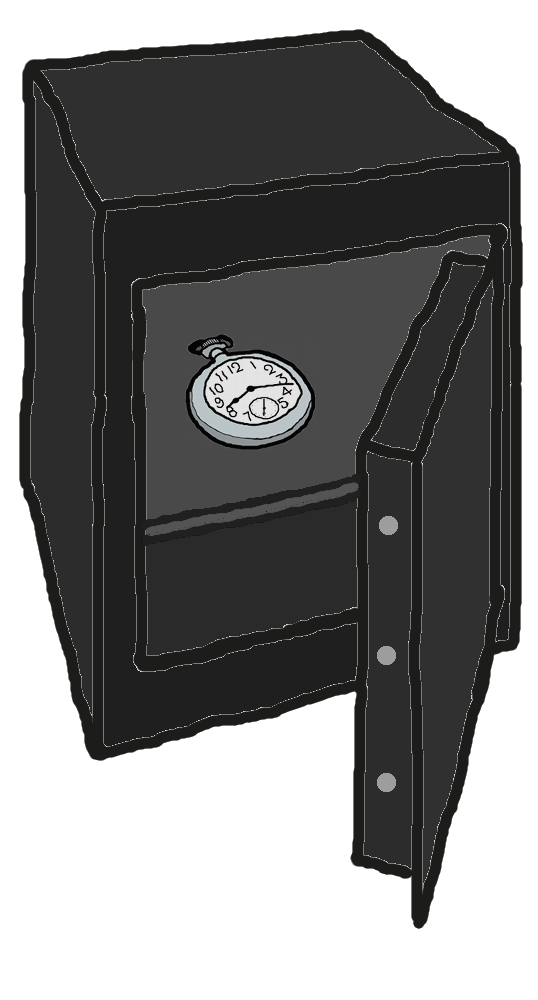 Safe mit Uhr